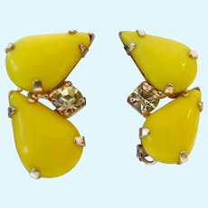 Vintage Yellow Glass Teardrop Cabochon Clip Earrings