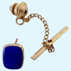 14K Gold & Blue Gemstone Tie Tack Signed