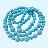 Turquoise Colored Bead Necklace Endless 37 Inches