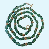 Gorgeous Green Glass Bead Necklace Hand Knotted Toggle Clasp Signed Over 42 Inches