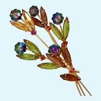 Margarita & Navette Rhinestone Flower Brooch Multi-Color