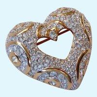 Swarovski Open Heart Brooch Clear Crystals Swan Signed