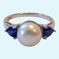10K White Gold Pearl & Trillion Sapphire Ring