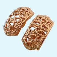 Nina Ricci Signed Gold Tone Filigree Clip Earrings