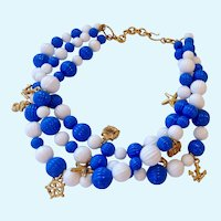 Fun Nautical Theme Necklace Blue White & Gold Tone Charms Signed