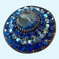 Huge Weiss Shades of Blue Round Domed Brooch
