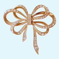 KJL Kenneth Jay Lane for Avon Big Bow Brooch with Clear Rhinestones