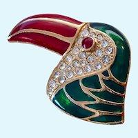 Large Colorful Tropical Bird Brooch Enamel & Rhinestones