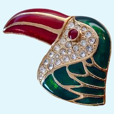 Large Colorful Tropical Bird Brooch Enamel & Rhinestones