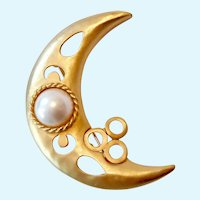Large Gold Tone Crescent Moon Brooch with Faux Pearl