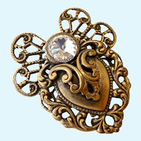 Romantic Heart Motif Brooch with Rivoli Stone Signed Dated 1998