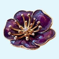 Purple Enamel 3-D Flower Brooch Signed