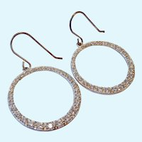 Sterling Silver 925 & CZ Open Circle Dangle Earrings