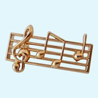 Small Gold Tone Musical Staff Pin Brooch Napier