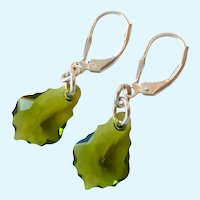 Sterling Silver 925 Sculpted Crystal Dangle Earrings Lever Back