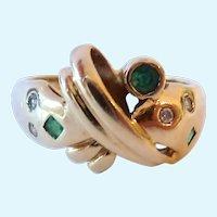 14K Gold Diamond & Emerald or Tourmaline Ring Modernist Design