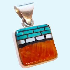 Sterling Silver  Turquoise & Spiny Oyster Pendant 925