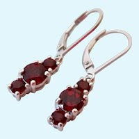 Sterling Silver Triple Garnet Dangle Lever Back Earrings 925
