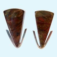 Large Colorful Jasper Sterling Silver Modernist Earrings Omega Backs 925