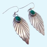 Sterling Silver & Malachite Earrings Feather Motif Southwest Design 925 Signed