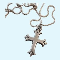 James Avery Sterling Silver 925 Small Fleuree Cross Pendant Necklace