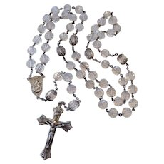 Sterling Silver 925 Rosary Faceted Rock Crystal Beads