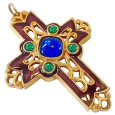 """Large Enameled & """"Bejeweled"""" Cross Pendant Signed Avon"""