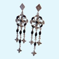Dramatic Long Sterling Silver 925 Marcasite Black Cab Earrings Girandole Style
