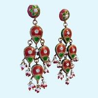 Red & Green Enamel Boho Gypsy Dangly Earrings