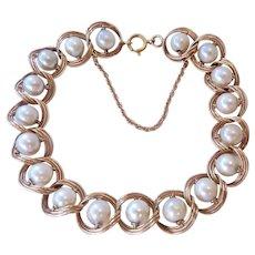 14K Gold Triple Link Cultured Pearl Bracelet Safety Chain 14.8 Grams