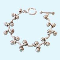 Silpada Sterling Silver 925 Arched Rod & Bead Vine-Like Bracelet
