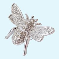 Swarovski Clear Crystal Bee Pin Back Swan Signed