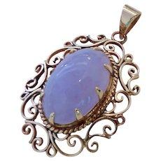 14K Gold & Lavender Jade Pendant