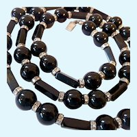 Gorgeous Black Onyx & Sparkly Rondelle Necklace with Sterling Clasp