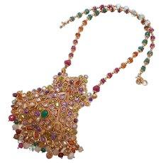 Exotic Colorful Multi-Gemstone & Paste Pendant Necklace
