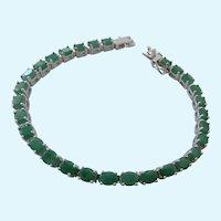 Sterling Silver 925 Emerald Tennis Style Bracelet