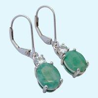 Sterling Silver 925 Emerald & Spinel or Topaz Earrings Lever Backs