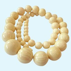 Long Graduated French Ivory Celluloid Necklace