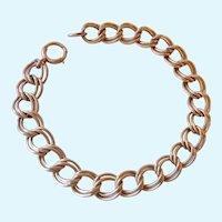 Vintage Gold Filled Double Link Starter Charm Bracelet