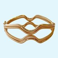 Uno A Erre 14K Gold Clamper Bracelet Italy Impressive 16.2 Grams