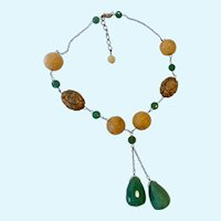 Sterling Silver 925 Yellow Green Jade & Jasper Shou Necklace with Dangles