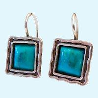 Silpada Sterling Silver 925 & Turquoise Locking Wire Earrings