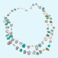 Sterling Silver 925 Blue & Green Gemstone & Cultured Pearl Necklace 2 Strands