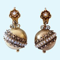 Antique 14K Gold Victorian Etruscan Revival Orb Drop Earrings with Seed Pearls