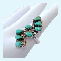 Sterling Silver 925 & Turquoise Zuni Style ZigZag Design Ring