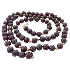 14K Gold & Dark Red  9MM Garnet Bead Necklace 32 Inches