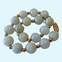 14K Gold & Celadon Jade 8MM Bead Bracelet
