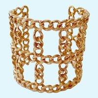 Wide Bold Gold Tone Cuff Bracelet Open Woven Design