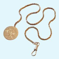 10K Gold Watch Chain with Clip and Engraved Button 10.4 Grams