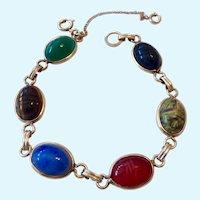 12K Gold Filled Carved Gemstone Scarab Bracelet Signed